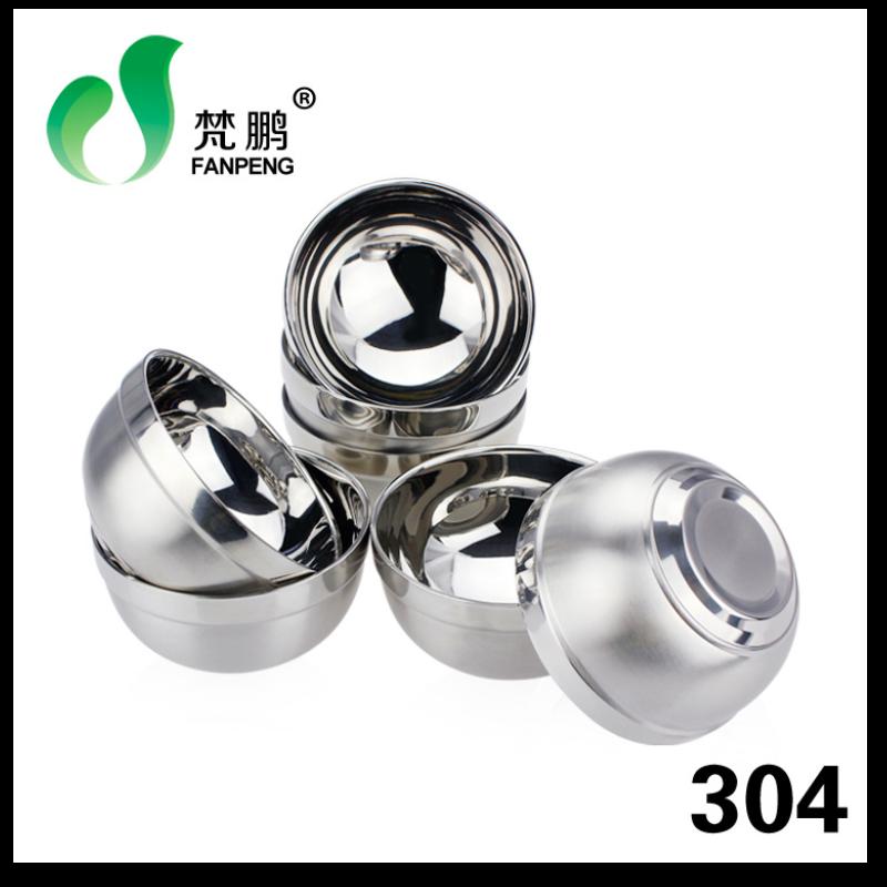 304不锈钢碗 韩式双层隔热防烫砂光碗 儿童防摔碗